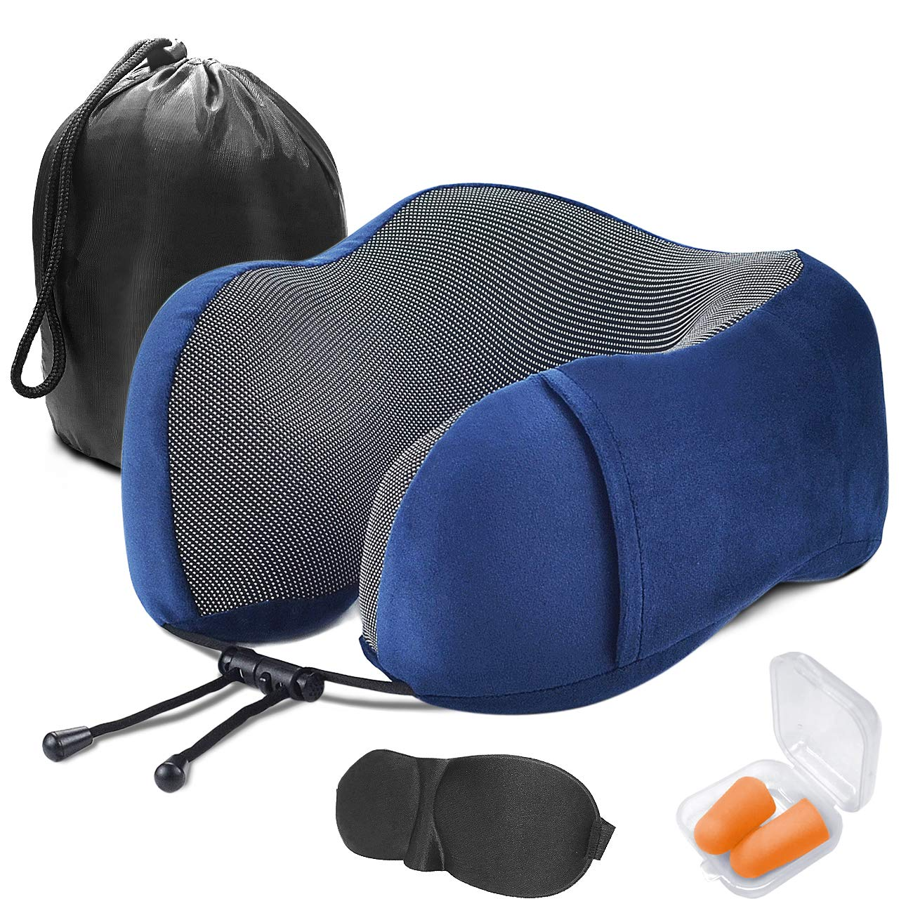 Blue Mengmall Travel Pillow,Travel Neck Pillow for Airplanes,Memory Foam Travel Pillow Machine Washable with Eye Masks earplugs and Storage Bag Soft Hump Body Design Suitable for Travel Napping