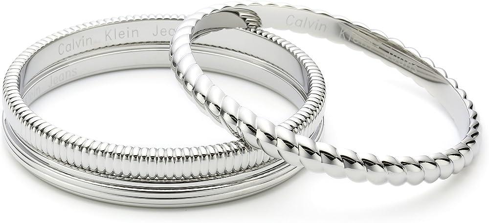 Calvin klein - set di 2 bracciali rigidi wave per donna, in acciaio inossidabile KJ17AB01020S
