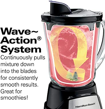 Hamilton Beach 58148A Blender to Puree - Crush Ice - and Make Shakes and Smoothies - 40 Oz Glass Jar - 12 Functions - Black a