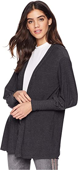 Cozy Knit Bishop Sleeve Open Front Cardigan