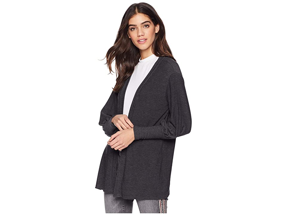 Chaser Cozy Knit Bishop Sleeve Open Front Cardigan (Black) Women