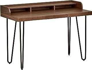 Marca Amazon -Rivet - Escritorio moderno de madera y metal con patas de horquilla 119 cm de ancho (nogal)