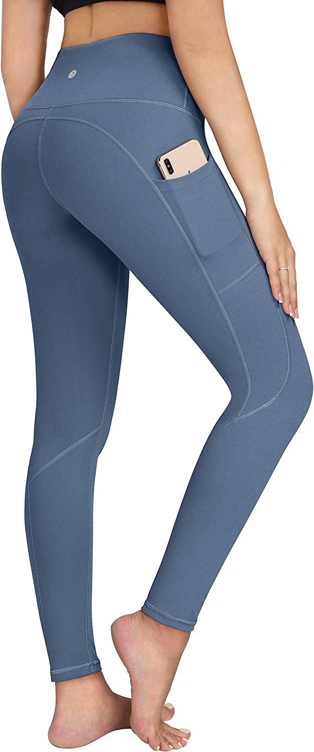 4 Way Stretch Workout Leggings Mint Blue ESPIDOO Yoga Pants with Pockets for Women High Waist Tummy Control