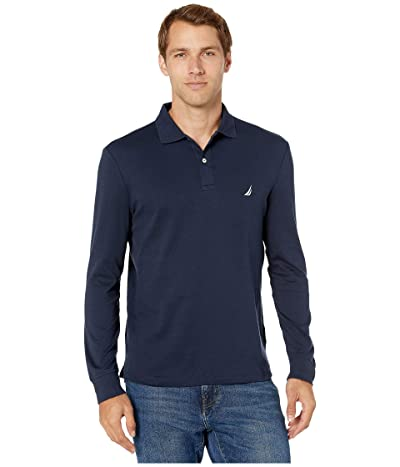 Nautica Long Sleeve Interlock Knit Polo (Navy) Men