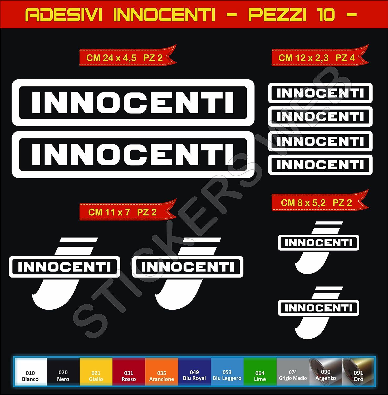 10 Pezzi- Pimastickerslab Kit Adesivi Stickers INNOCENTI Moto Scooter Scegli Colore Moto Motorbike cod.0566
