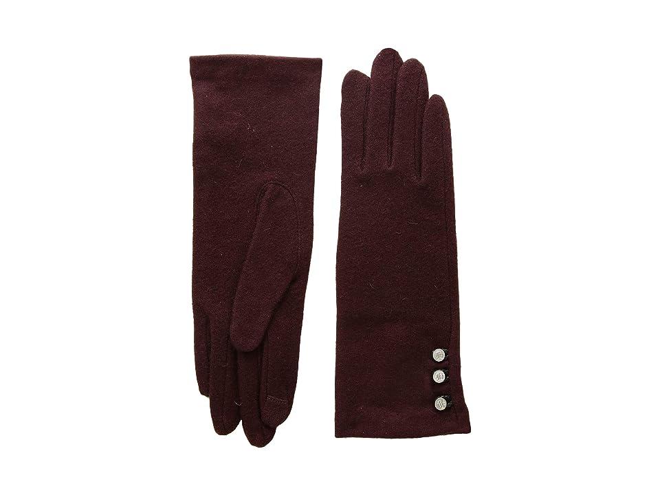 LAUREN Ralph Lauren Three-Button Touch Gloves (Wine) Wool Gloves
