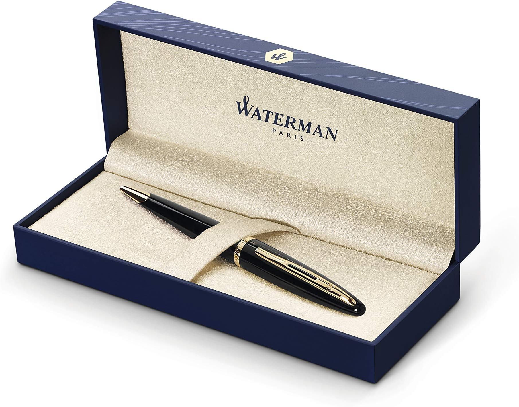 Waterman Carene Rollerball Pen Black Sea Stainless Steel Trim New S0293940