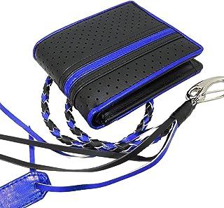 (ディアブロ)DIABLO 二つ折財布 牛革 パンチング ライン KA-800 【ブラック×ブルー】