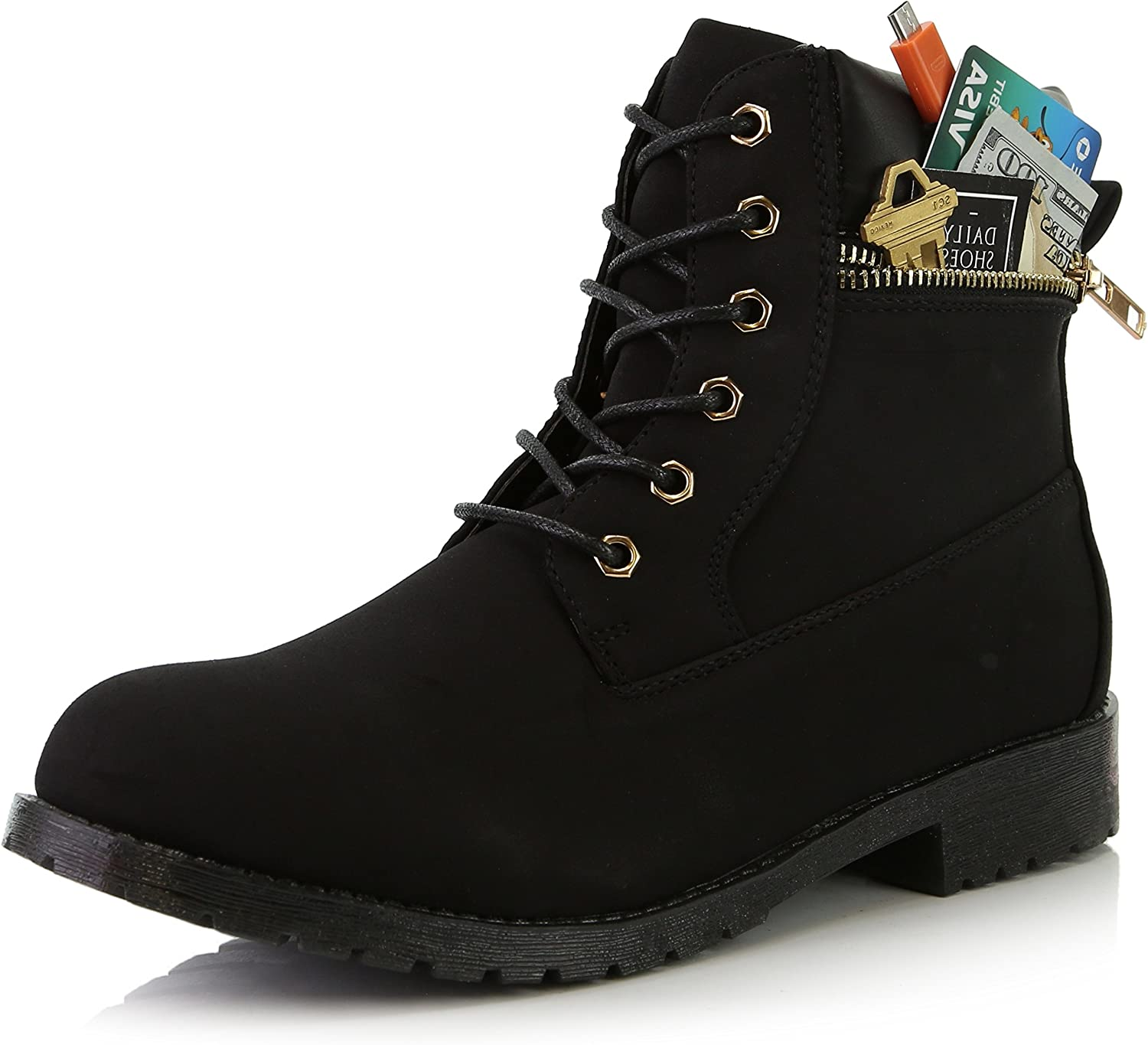 Dailyshoes Women's Lace-Up Ankle Padded Collar Work Combat Side Zipper Pocket Ladies Booties
