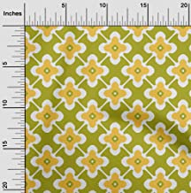 oneOone Velvet Lime Green Fabric Floral & Tiles Moroccan Craft Projects Decor Fabric Printed by The Yard 58 Inch Wide