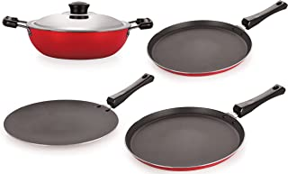 Nirlon Non-Stick Cookware Kitchen Cooking Utencil Combo Set, (26_FT12_CT_DKDB_FT11),PFOA Free