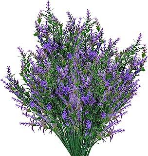 6 Pcs Artificial Lavender Flowers Bouquets, Plastic UV Resistant Faux Flowers Plants, Fake Greenery Shrubs Bushes Plants F...