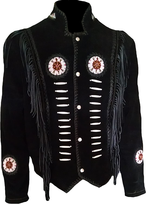 Classyak Men's Western Cowboy Fringed & Boned Suede Leather Jacket