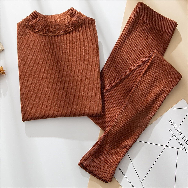 XIAOSEN Women Thermal Underwear Warm Sleepwear Clothes Winter Long Female Underwear (Color : Camel, Size : Fit (40-70) kg)