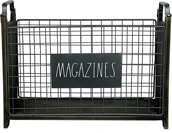 Rae Dunn Magazine Holder Space Saving Organizer Rack For Books Files Folders Standing Decorative Chic Metal And Wood Storage Container For Home And Office