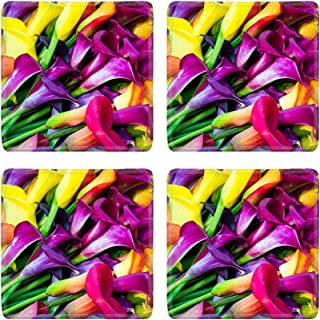MSD Drink Coasters 4 Piece Set Image ID: 37536103 Colorful Calla lily flowers in full bloom on display at the farm
