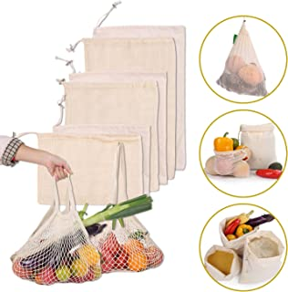 Reusable Produce Bags Set of 8, 100% Organic Cotton Grocery Shopping Drawstring Bag, Joyhill Zero Waste Washable Food Fruit Vegetable & Mesh Storage Bags
