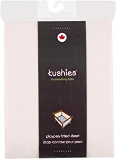Kushies Pack N Play Playard Sheet, Soft 100% Breathable Cotton Flannel, Made in Canada, Natural