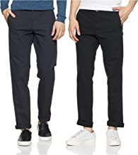 Amazon Brand - Symbol Men's Regular Fit Casual Trousers(AW-SY-MCT-1143_Navy_34W x 31L) and Symbol Men's Regular Fit Casual...