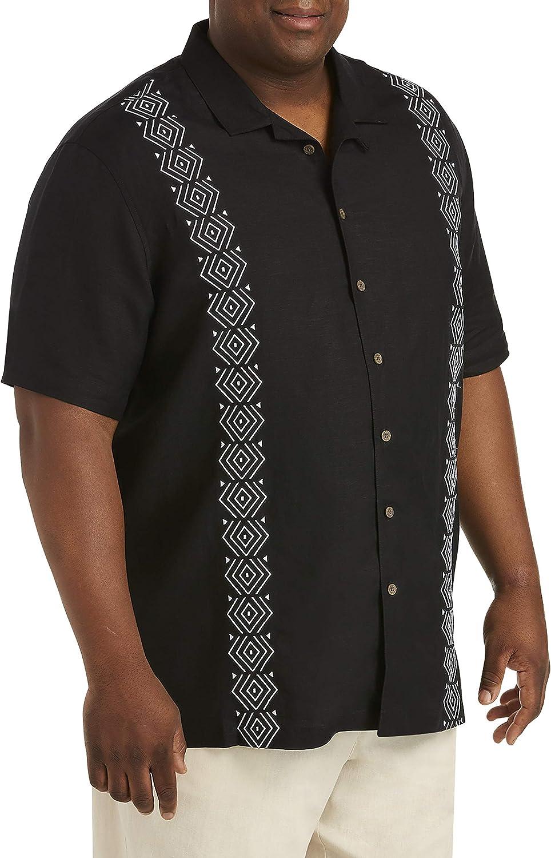Island Passport by DXL Big and Tall Geo Embroidered Sport Shirt, Black