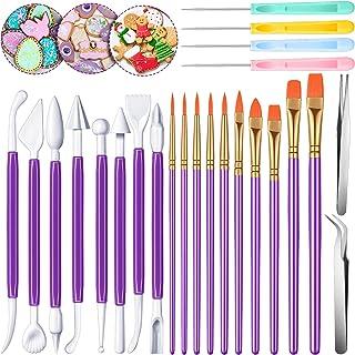 مجموعه ای از 24 قطعه ابزار تزئین کوکی مجموعه ابزار تزئین کیک فوندانت شامل قلم موهای تزئینی قند سوزن ابزار مدل سازی فوندانت آرنج و موچین مستقیم برای تزئین کیک کوکی (بنفش)