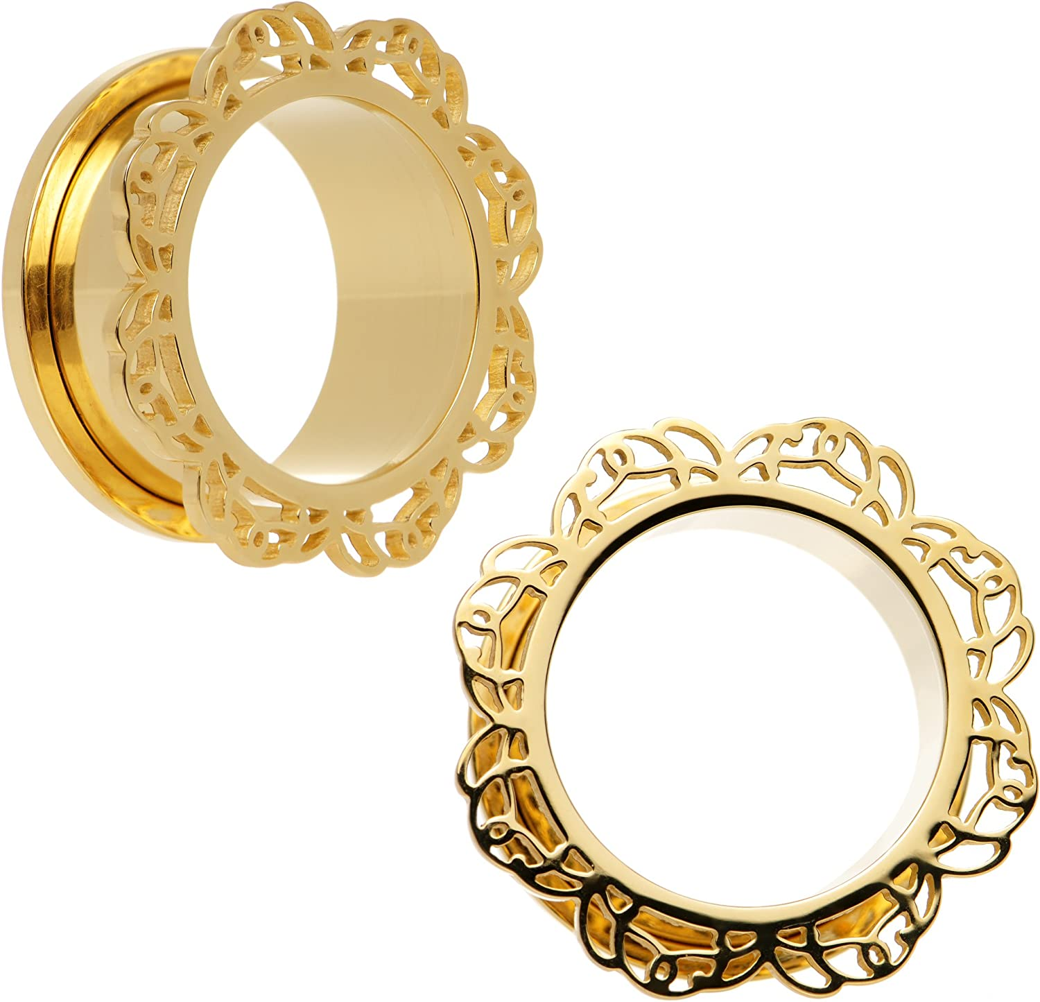 Body Candy Gold PVD Stainless Steel Filigree Flower Screw Fit Tunnel Ear Gauge Plug Set 7/8