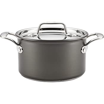 Breville Thermal Pro Hard Anodized Nonstick Sauce Pan/Saucepan with Lid, 4 Quart, Gray