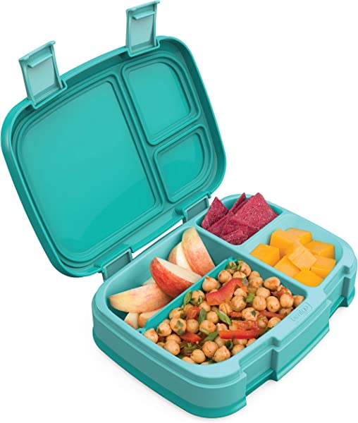 Bentgo Fresh Aqua New Improved Leak Proof Versatile 4 Compartment Bento Style Lunch Box Ideal For Portion Control And Balanced Eating On The Go BPA Free And Food Safe Materials