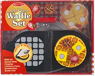 Melissa & Doug Press and Serve Wooden Waffle Set (23 pcs) - Play Food and Kitchen Accessories