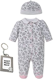 Little Me Footie Baby Girls Footed Sleeper Sleep N Play Hat and Keychain  Toile 24888e525