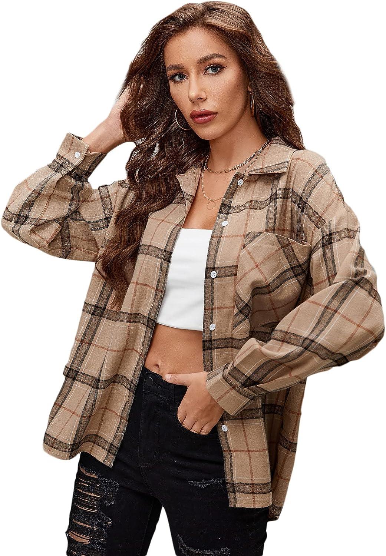 SheIn Women's Plaid Button Down Long Sleeve Blouse Lapel Collar Tunic Top Shirt