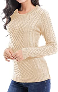 Women Crew Neck Knit Stretchable Elasticity Long Sleeve Sweater Jumper Pullover