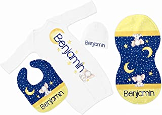 New Baby Boy's Blue Raglan Elephant Personalized Infant Gown with Royal Blue Coming Home Outfit
