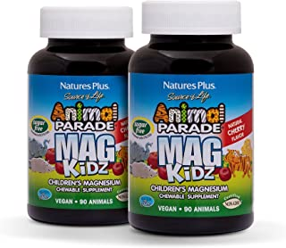 NaturesPlus Animal Parade Source of Life Sugar-Free MagKidz Children's Magnesium Supplement (2 Pack) - Natural Cherry Flav...