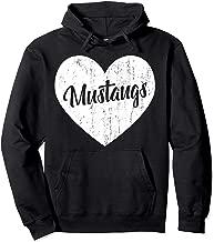 Mustangs School Sports Fan Team Spirit Mascot Heart Gift Pullover Hoodie