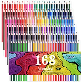 168 Colored Pencils - 168 Count Including 12 Metallic 8 Fluorescence Vibrant Colors No Duplicates Art Drawing Colored Penc...