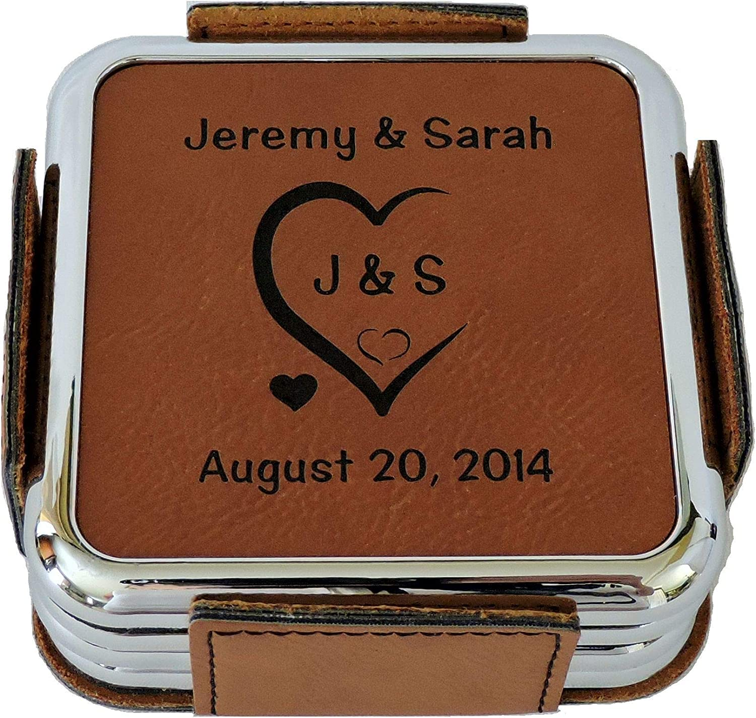 Leather Coasters Personalized with Initials in Carved and online shop Heart Safety trust
