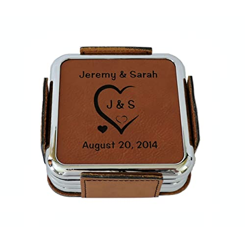 be0648c4bbba0 Leather Coasters Personalized with Initials Carved in Heart and Wedding Date