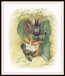 Beatrix Potter Bunny Comes to Visit, Vintage Art Print, Nursery, Baby Room, Shower Gift 8 x 10