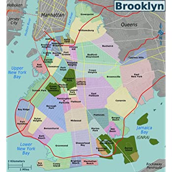 Brooklyn New York Map Amazon.com: Gifts Delight Laminated 24x26 Poster: Brooklyn