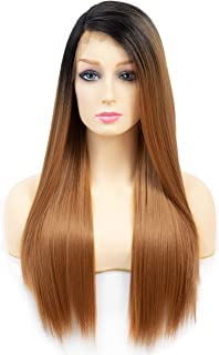 """OneDor 24"""" Straight Kanekalon Futura Synthetic Hair 130% Density Lace Front Side Part Long Wig 2 Tone Dark Root With Heat Resistant Fiber for Women (Dark Root/Blonde)"""