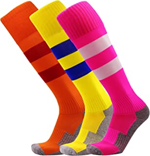KALAKIDS Youth Soccer Socks 1/3/5/6 Pack Stripe...