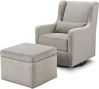 Carter's by Davinci Adrian Swivel Glider with Storage Ottoman in Grey Linen, Water Repellent and...