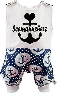 Eve Couture Babykleidung Baby Strampler Junge Mädchen Seemannsherz Anker Rockabilly