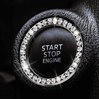 2 PCS Bling Car Crystal Rhinestone Ring Car Decor Accessories for Auto Start Engine Ignition Button Key Ignition Starter o...