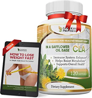 Best Pure CLA 1250 mg in a Safflower Oil Base Supplement, Conjugated Linoleic Acid - Helps Boost Metabolism and Strong Immunity – 120 Weight Loss Softgels