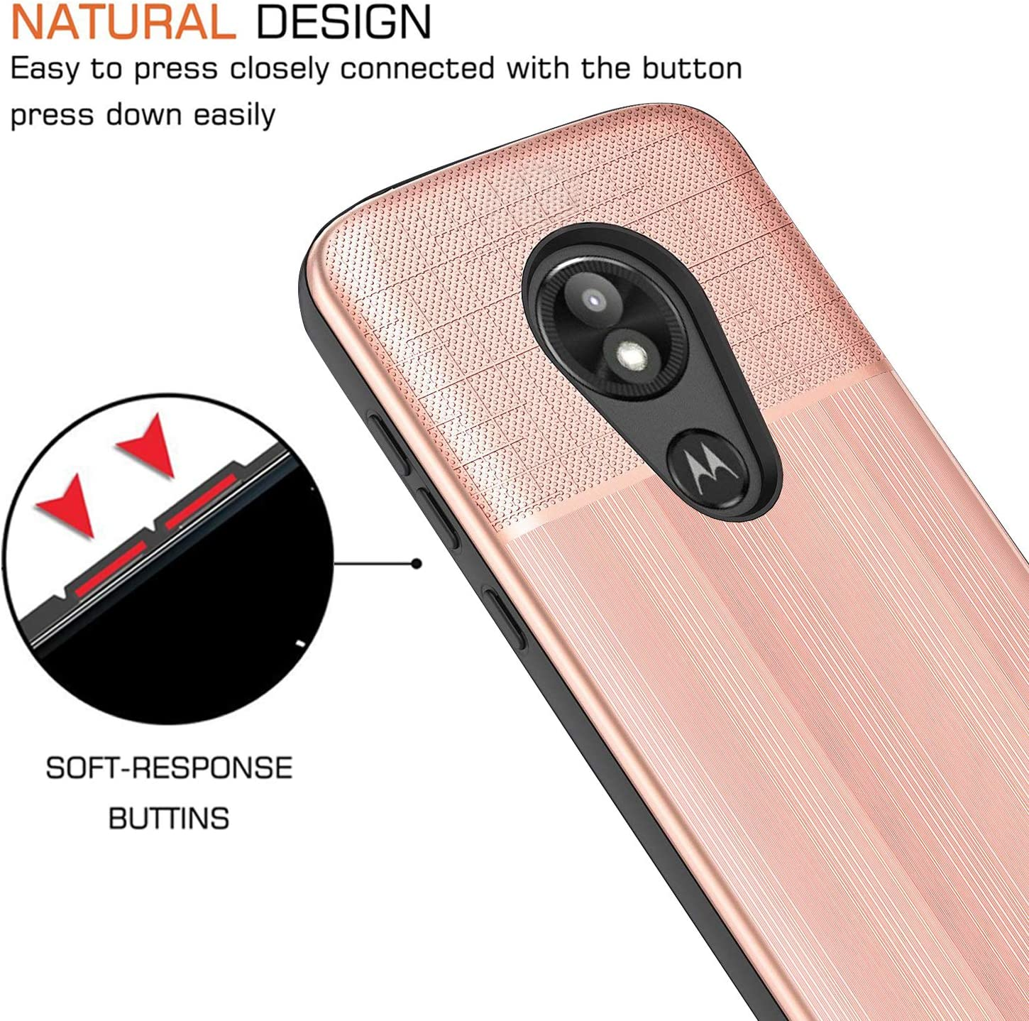 UniSpg for Moto E5 Play Phone Case,Motorola Moto E5 Cruise Case   Shockproof Drop Protection Hybrid Dual Layer PC Plastic Shell Armor Defender Protective Cover -Rose Gold