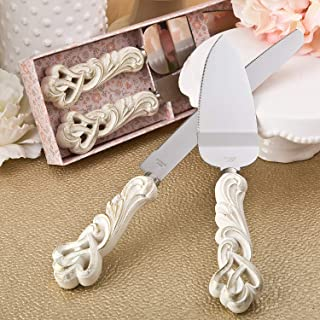 Fashioncraft Vintage double heart design knife and cake server set, One Size, Ivory