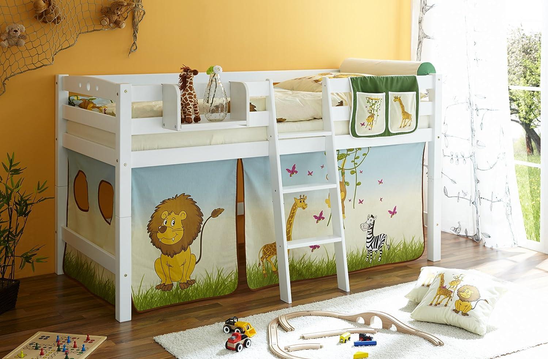 Hochbett Spielbett mit Schrgleiter Tipsi Buche massiv Weiss teilbar mit Farbauswahl, Vorhangstoff Safari