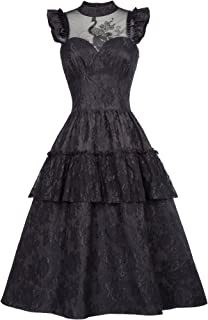 Steampunk Victorian Gothic Lace Swing Dress Women Maxi Dress